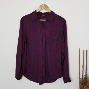 George|Navy Striped Button Down Shirt Small